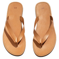 H&M - Leather Flip-flops - Brown - Men