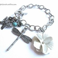 Metal Chain Charm Bracelet with Flower, Butterfly and Dragonfly Charms