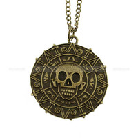 Cursed pirate necklace  doubloon aztec coin necklace by mosnos