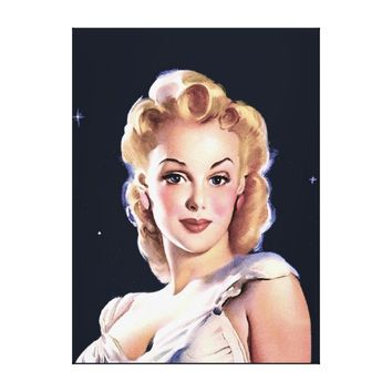 Beautiful Woman Vintage 1940's Canvas Portrait