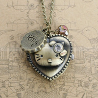 Pocket watch necklace of ancient bronze kitty design by mosnos