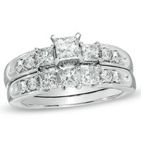 1-1/2 CT. T.W. Princess-Cut Diamond Three Stone Bridal Set in 14K White Gold