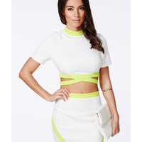 Missguided - Tereza Lime Contrast Bandage Waist Crop Top