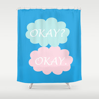 Okay Okay - Thyroid Cancer Awareness Colours Blue Pink and Teal, The Fault in Our Stars Shower Curtain by BeautifulHomes | Society6