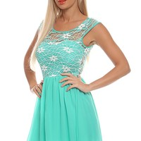 MINT SHORT SLEEVE LACE TOPED CHIFFON MINI DRESS