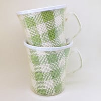 Set of 6 Vintage Raffia Ware Poolside Cups by DuoTemp in Green & White Plaid