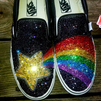 LUCKY STAR supernova rainbow shooting gold star handpainted black sparkle glitter canvas VANS slip on skate shoes any size