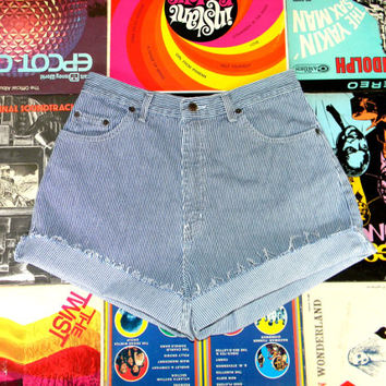 Vintage Denim Shorts - 90s Blue and White Pin Striped Jean Cut Offs - High Waisted/Frayed/Rolled Up/Cuffed Shorts Size 10/12