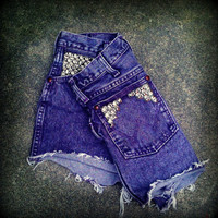 Vintage High Waisted Studded Purple Acid Wash by TrueBlueDryGoods