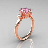 Modern Antique 14K Rose Gold 1.5 Carat Light Pink Topaz Solitaire Engagement Ring AR127-14RGLPT