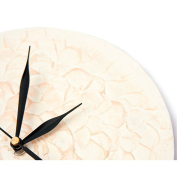 White FLOWER WALL CLOCK, unique abstract wall clock, rich texture,  pastel peach  colors office decor modern home decor design wall clock