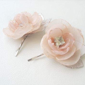 Peach Wedding Flower  Bridal Hair Accessory  Peach Flower Hair Clip Small Bobby Pins Wedding Hair Piece