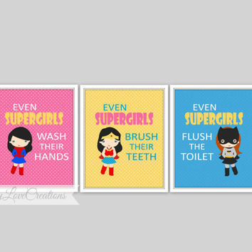 "Super Girls Bathroom Prints - Set of 3 Prints - ""Even Supergirls Wash Their Hands"" Comic Book Print, Girl Bathroom, Wonder Girl"