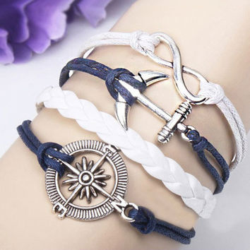 Fresh Anchor Infinity Rudder Weave Bracelet