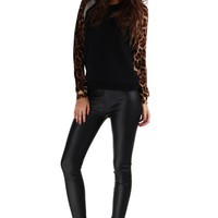 Black Leopard Print Long Sleeve Sweater