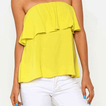 Strapless Ruffle Blouse | HGT98