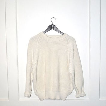 80s cable knit cream jumper / off white eddie bauer pull over sweater