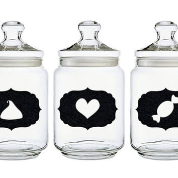 Kitchen Labels - Velvet Fabric Jar Labels - Home Decor Label -  Set of 3 Black Labels Kitchen Decor -  Fabric Stickers