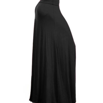 In Style Long Solid Black Maxi Skirt