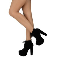 Womens Ankle Boots Suede Chunky High Heel Platform Lace Up Casual Shoes Black