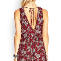 Paisley Print Tie-Back Dress