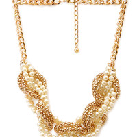 FOREVER 21 Winding Whimsical Necklace Cream/Gold One