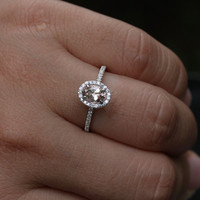 14k White Gold Morganite Oval 7x5mm and Diamond Halo Engagement or Wedding Ring (Choose color and size options at checkout)