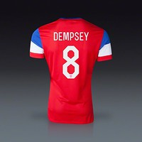 Nike Clint Dempsey #8 USA 2014 FIFA World Cup Brazil Large Red White & Blue Away Soccer Jersey