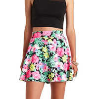 HAWAIIAN PRINT HIGH-WAISTED SKATER SKIRT
