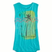 AEO 's Tropic Graphic Muscle Tank (Tropical Teal)