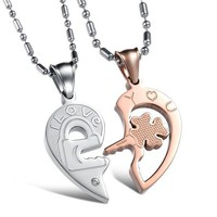 "Fashion Jewelry "" I Love You ""Heart AAA High Quality CZ Titanium Stainless Steel Couple Necklace DP 0613"