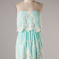 Baroque Lace Dress - Mint - Hazel & Olive