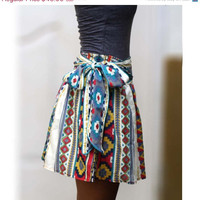 ON SALE Colorful Tribal Mini Skirt Blue Fuschia and by LoNaDesign