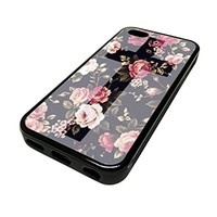 For Apple Iphone 5 or 5s Cute Phone Cases for Girls Black Floral Rose Flowers Cross Design Cover Skin Black Rubber Silicone Teen Gift Vintage Hipster Fashion Design Art Print Cell Phone Accessories