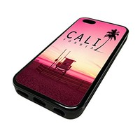 For Apple Iphone 5 or 5s Cute Phone Cases for Girls Teens Pink California Beach Cali Cover Skin Black Rubber Silicone Teen Gift Vintage Hipster Fashion Design Art Print Cell Phone Accessories