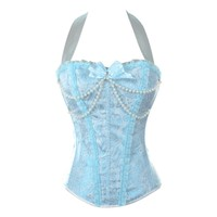 Turquoise and Silver Halterneck Fashion Corset