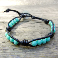 Beaded Leather Single Wrap Stackable Bracelet with Green Turquoise Czech Glass Beads on Knotted Black Leather Unisex Mens Bracelet