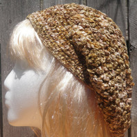 slouchy beanie, crochet hat, brown chenille hat, free shipping USA