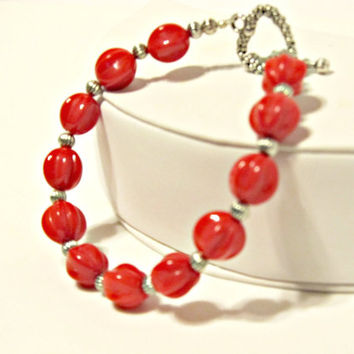 Red Fluted Bead Bracelet