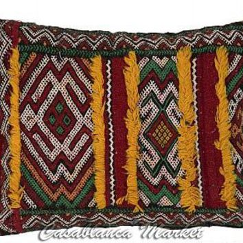 HANDMADE RECTANGULAR BERBER PILLOW - MULTICOLOR WITH FRINGE