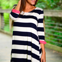 Lost At Sea Dress, Navy/Pink