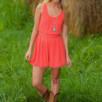 Classic With A Kick Romper-Coral