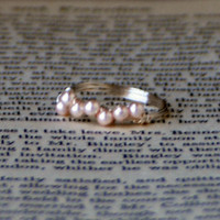 Wrapped Faux Seed Pearl Ring by MirrorMirrorFashions on Etsy