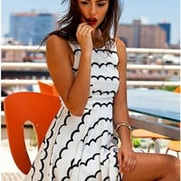 White Print Skater Cut Out Dress