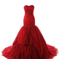 Dressystar Strapless Tulle Satin Mermaid Wedding Dress Red Lace up Bridal Gown