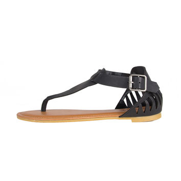 Cut Out Fang Sandals - Black - Black /