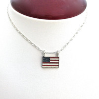 Flag Necklace, USA, Patriotic, July 4, American, Stars and Stripes
