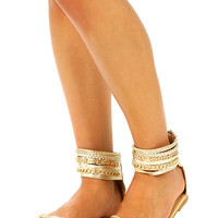 All The Cage Sandals: Gold
