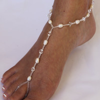 Beach Wedding Bridal Barefoot Sandals Foot Jewelry by ABiddaBling