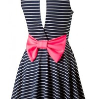 Striped Bow Back Dress